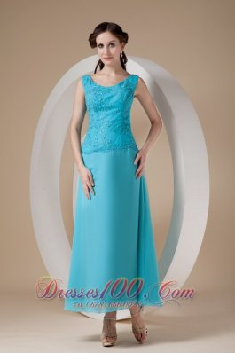 Teal Column / Sheath Wide Straps Ankle-length Chiffon Beading Prom Dress