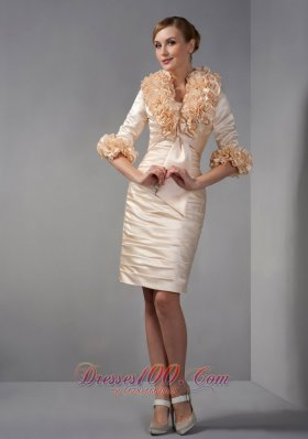 Champagne Short Mother Of The Bride Dress with Jacket Satin