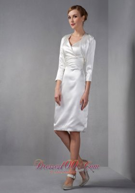 Gorgeous Ivory Column Mother Of The Bride Dress V-neck Ruch and Hand Made Flowers Knee-length Taffeta