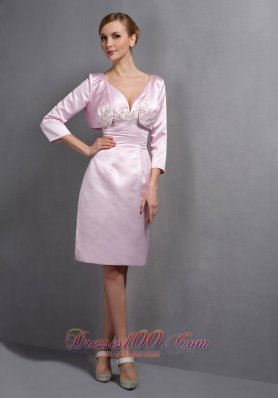 Baby Pink Column V-neck Knee-length Taffeta Ruch and Appliques Mother Of The Bride Dress