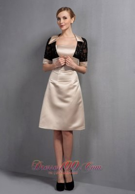 Elegant Champagne A-line Mother Of The Bride Dress Strapless Hand Made Flowers Knee-length Satin