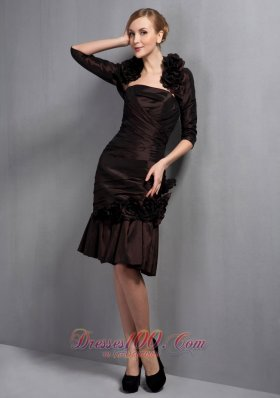 Customize Brown Column Mother Of The Bride Dress Strapless Hand Made Flowers Knee-length Taffeta