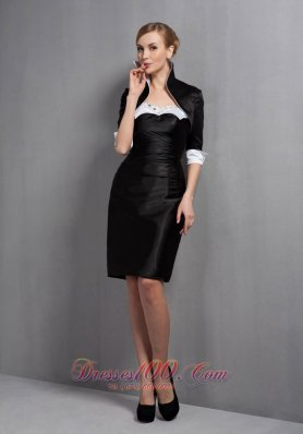 Elegant Black Column Mother Of The Bride Dress Sweetheart Beading Mini-length Satin
