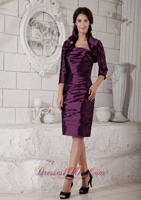 Elegant Purple Column Mother of the Bride Dress Strapless Hand Made Flower and Ruch Knee-length Taffeta