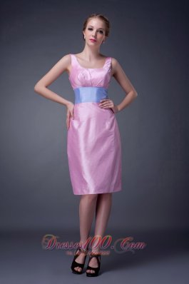 Modest Baby Pink Column Scoop Mother Of The Bride Dress Knee-length Taffeta Sash