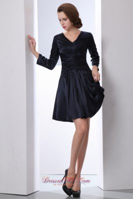 Black A-line V-neck Ruch Mother of the Bride Dress Mini-length Taffeta