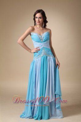 2013 Blue Empire Sweetheart Brush Train Chiffon Appliques with Beading Prom Dress