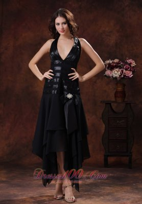 2013 Sexy Black Asymmetrical Prom Celebrity Dress Clearance With Halter In Benson Arizona
