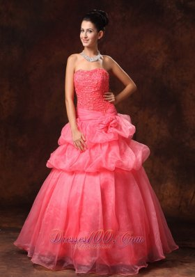 2013 Watermelon Red Hand Made Flowers And Appliques A-line Strapless Organza 2013 New Arrival Prom Gowns For Custom Made