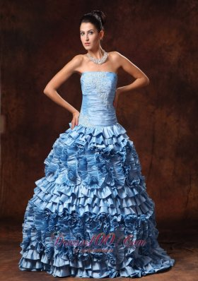 2013 Ruffles Light Blue Strapless A-line Appliques Taffeta Chic New Arrival Prom Gowns In Bessemer Alabama