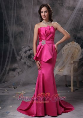 2013 Pretty Hot Pink Mermaid Evening Dress Strapless Satin Beading and Ruch Brush Train