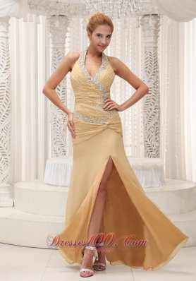 2013 High Slit Beaded Decorate Halter Ruched Bodice Custom Made Champagne Prom / Evening Dress For 2013