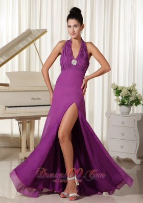 2013 Halter High Slit Ruched Bodice Purple Homecoming Dress Floor-length