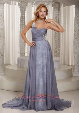 2013 Custom Made Gray One Shoulder Ruched Bodice and Appliques Mother Of The Bride Dress