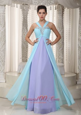 2013 Aqua Blue and Lavender Empire Straps Floor-length Chiffon Beading Prom Dress