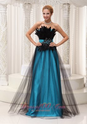 2013 Feather and Beaded Decorate Bust Tulle and Taffeta Prom / Pageant Dress For 2013 Strapless and Floor-length
