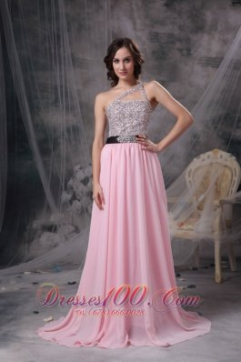 2013 Baby Pink Empire One Shoulder Prom Dress Chiffon Beading Brush Train