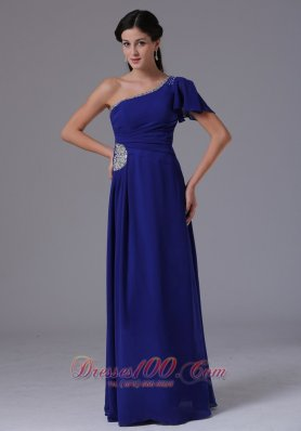 2013 Custom Made Peacock Blue One Shoulder 2013 Prom Dress Beading and Ruch In Alabama