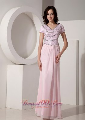 2013 Simple Baby Pink Empire V-neck Evening Dress Chiffon Beading Floor-length