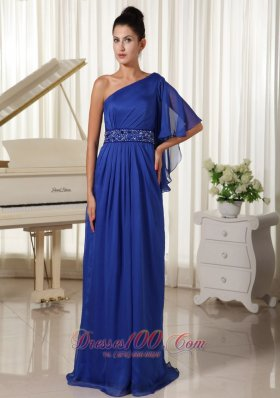 2013 One Shoulder With 1/2-length Sleeve Beaded Decorate Waist Royal Blue Mother Of The Bride Dress