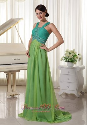 2013 Brush Train Chiffon Straps Beading and Ruch Prom Dress Turquoise and Spring Green