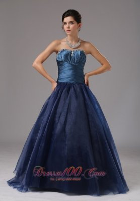 2013 Beaded Decorate A-line Blue Strapless Organza Prom Dress In Saint Joseph