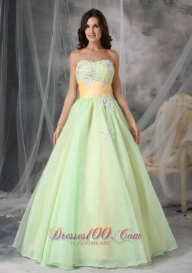 2013 Popular Yellow Green A-line Strapless Quinceanera Dress Organza Appliques Floor-length