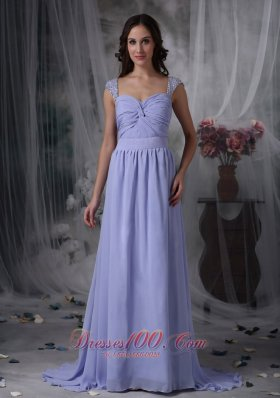 2013 Pretty Lilac Empire Mother of the Bride Dress Square Chiffon Beading and Ruch Brush Train