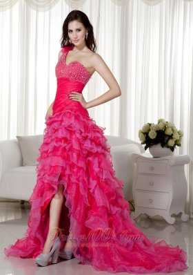 2013 Hot Pink A-line One Shoulder Brush Train Organza Beading Prom / Evening Dress