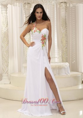 2013 Appliques Decorate Shoulder Ruched Bodice High Slit For Prom Dress In Washington