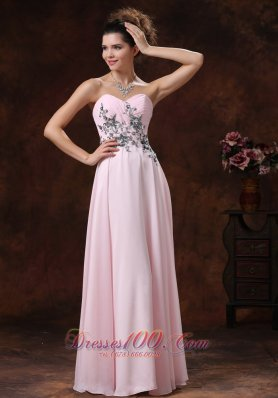 2013 Sweetheart Baby Pink For 2013 Prom Dress With Appliques Decorate Waist