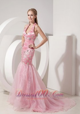 2013 Fashionable Baby Pink Evening Dress Mermaid Halter Organza and Taffeta Beading and Appliques Brush Train