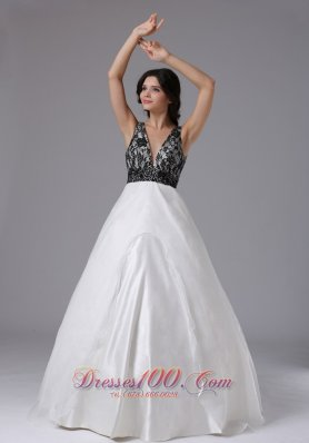 2013 Custom Made V-neck A-line For 2013 Prom Dress In Buena Park California With Lace and Organza