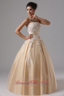 2013 Champagne and Appliques For 2013 Ball Gown Prom Dress Floor-length In Cambria California