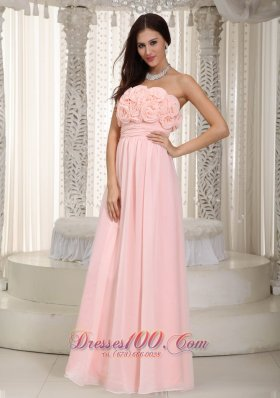 2013 Baby Pink Empire Strapless Floor-length Chiffon Hand Made Flowers Prom Dress