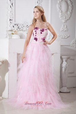 2013 Baby Pink A-line Sweetheart Brush Train Taffeta and Tulle Appliques Prom Dress