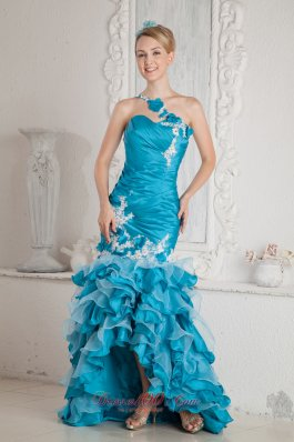 2013 Teal Mermaid One Shoulder Ruch and Appliques Prom Dress High-low Organza