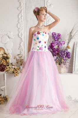 2013 Baby Pink Prom Dress A-line Sweetheart Floor-length Colorful Appliques