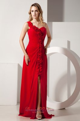 2013 Red Empire One Shoulder Hand Made Flowers Prom / Evening Dress Brush Train Chiffon