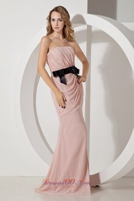 2013 Baby Pink Column Homecoming Dress Bow Strapless Brush Train Chiffon