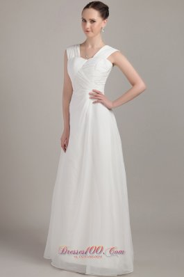 2013 White Empire Straps Floor-length Chiffon Ruch Bridesmaid Dress