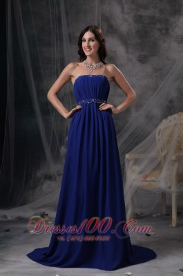 Best Discount Royal Blue Empire Evening Dress Strapless Chiffon Beading and Ruch Brush Train