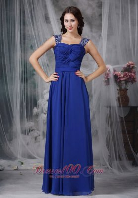 Best Royal Blue Empire Straps Floor-length Beading and Ruch Chiffon Prom Dress