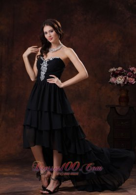 Best Camp Verde Arizona Sweetheart Black High-low Prom Dress With Chiffon Rhinestones Decorate