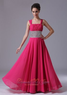 Hot Pink Prom Dresses With Straps - Missy Dress
