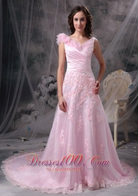 Best Pretty Baby Pink Princess V-neck Evening Dress Chiffon Appliques and Ruch Floor-length