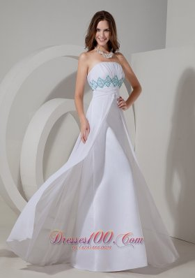 Best Gorgeous White Column Evening Dress Strapless Chiffon Beading and Ruch Floor-length