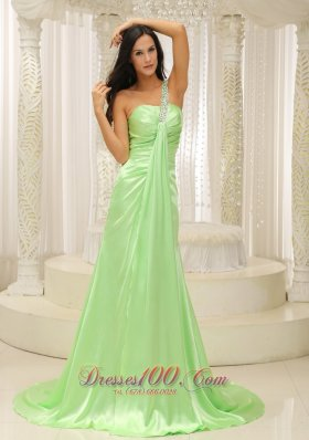 Best Beaded Decorate One Shoulder Ruched Bodice For Yellow Green 2013 Plus Size Prom Dress