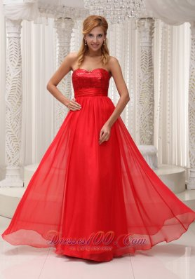 Best Sequined Up Bodice Sweetheart Neckline Red Chiffon and Floor-length Prom / Evening Dress For 2013