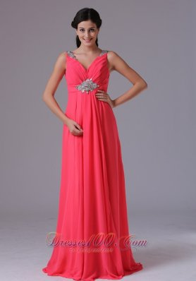 Best Coral Red V-neck Beading and Ruch Prom Dress With Floor-length In Norwalk Connecticut